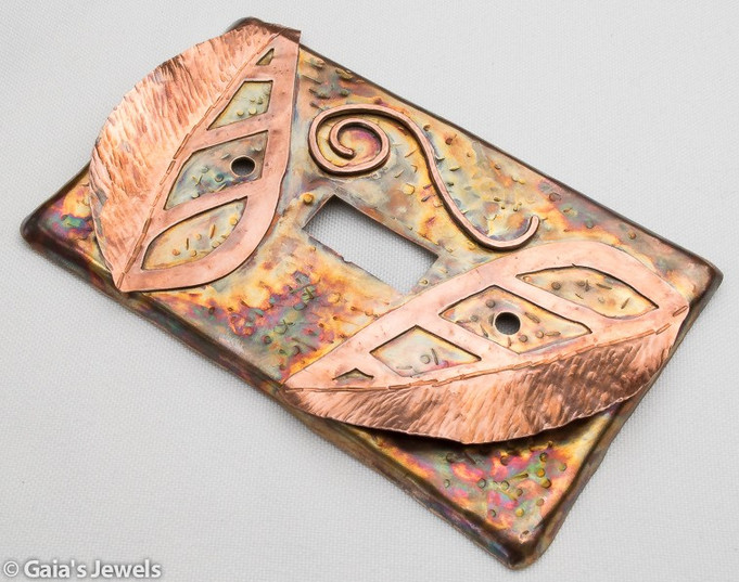 Wall Light Switch Plate w 3D Fold Formed Leaves, Copper on Bronze, Single