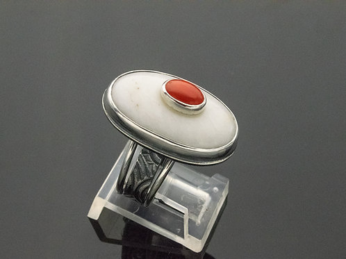 Milky Quartz and Red Coral Ring w Swirl Pattern Shank in Sterling Silver
