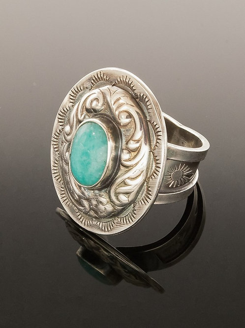 Amazonite Sterling Silver Concho Ring Southwestern Style