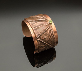 Fold Formed Copper Cuff Bracelet with Peridot in Sterling Silver