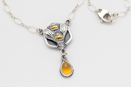 Honeybee Pendant Necklace in Silver Gold & Citrine