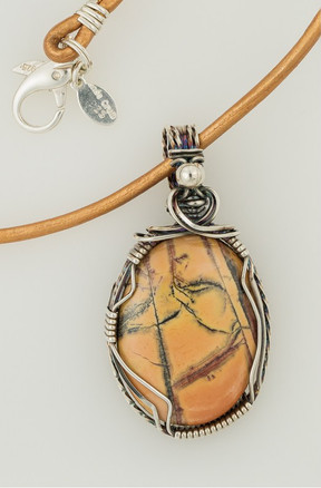 Feather Jasper Wire Wrapped Necklace