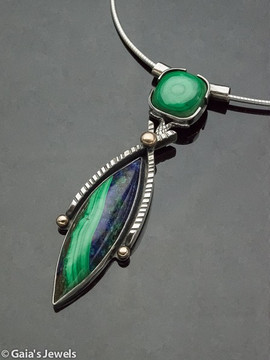 """Wise Compromise"" Statement Necklace in Malachite, Azurite and Sterling Silver"
