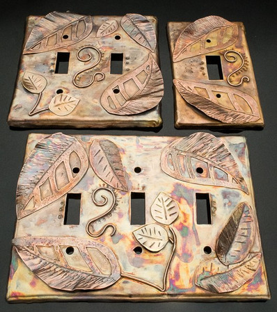 Custom Switch Plates – Bronze, Copper and Brass Leafy Design