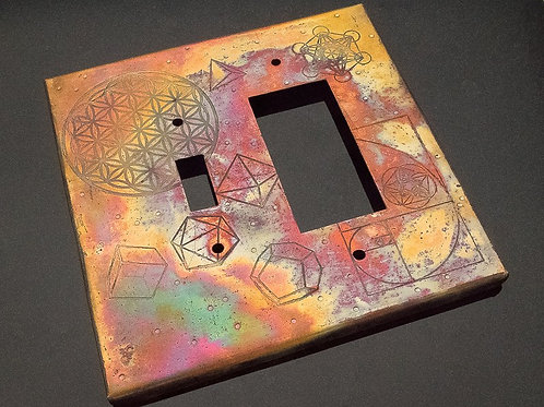 Light Switch Plate, Etched Sacred Geometry, Double Gang Hybrid, Oversized