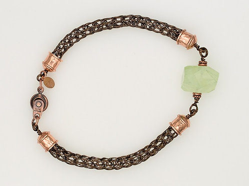 Viking Knit Bracelet in Smokey Quartz w Copper and Prehnite Chunk