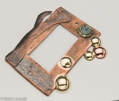 Copper and Brass with Carved Paua Shell Paddle Style Wall Lighting Switch Plate