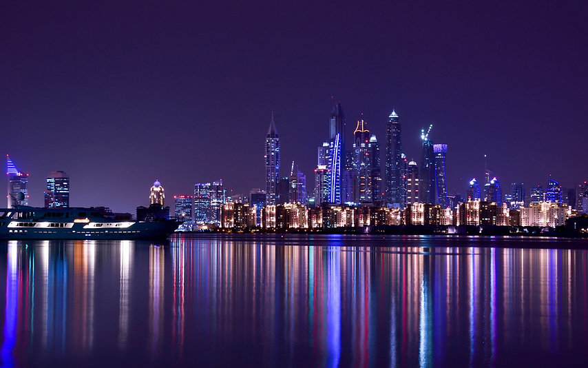 Dubai-UAE-city-night-skyscrapers-river-w