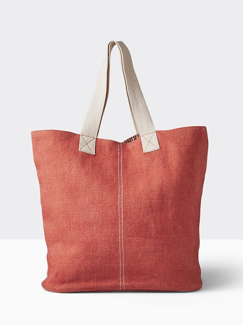 Coral Washed Linen Tote