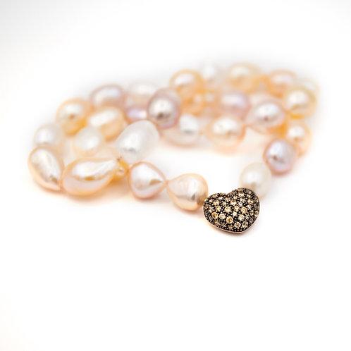 Collar de perlas rosas y broche corazón Plata de 1ª Ley