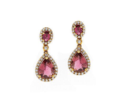 Pendientes de oro rosa, turmalinas y brillantes