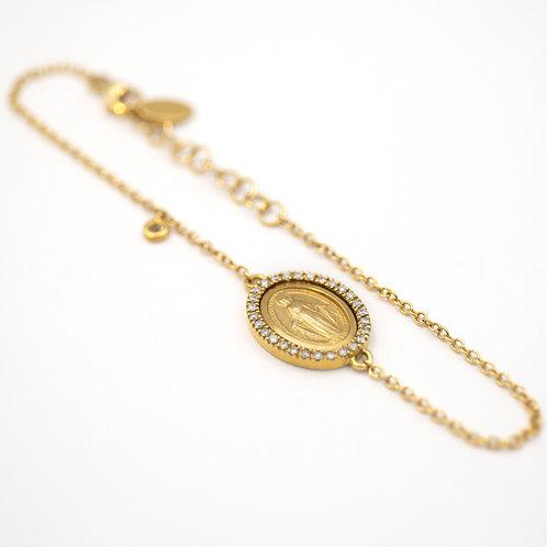 Pulsera Medalla Virgen Oro 18 kt. Brillantes.