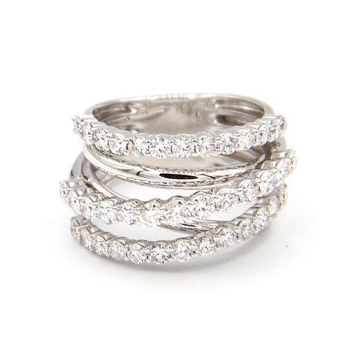 Sortija Oro Blanco 18 kt. Diamantes.