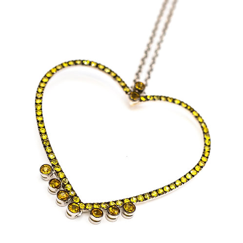 Colgante Corazón Zafiros Amarillos