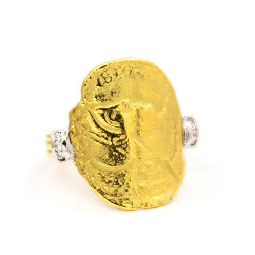 Sortija Oro Amarillo 18 kt. Brillantes.