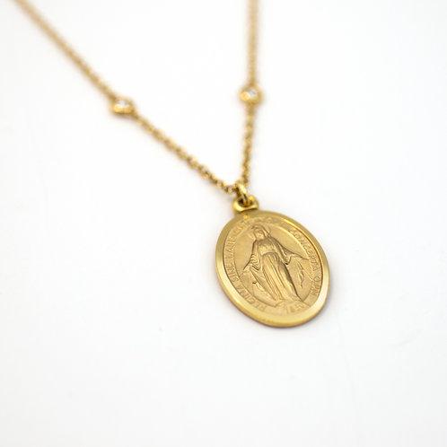 Medalla Virgen Oro 18 kt. Brillantes.