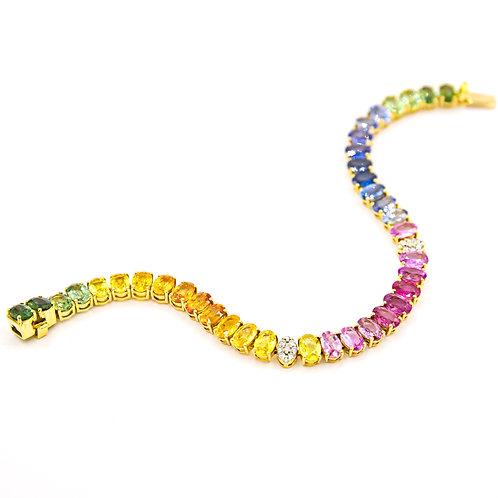Pulsera Oro Rosa 18 kt. Zafiros Rainbow