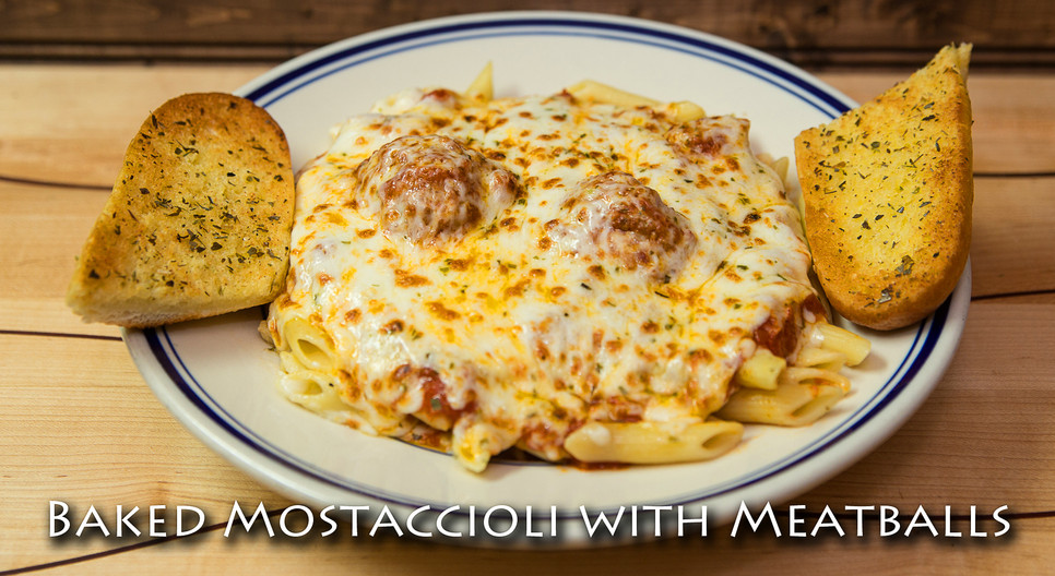 Baked Mostaccioli with Meatballs Pasta