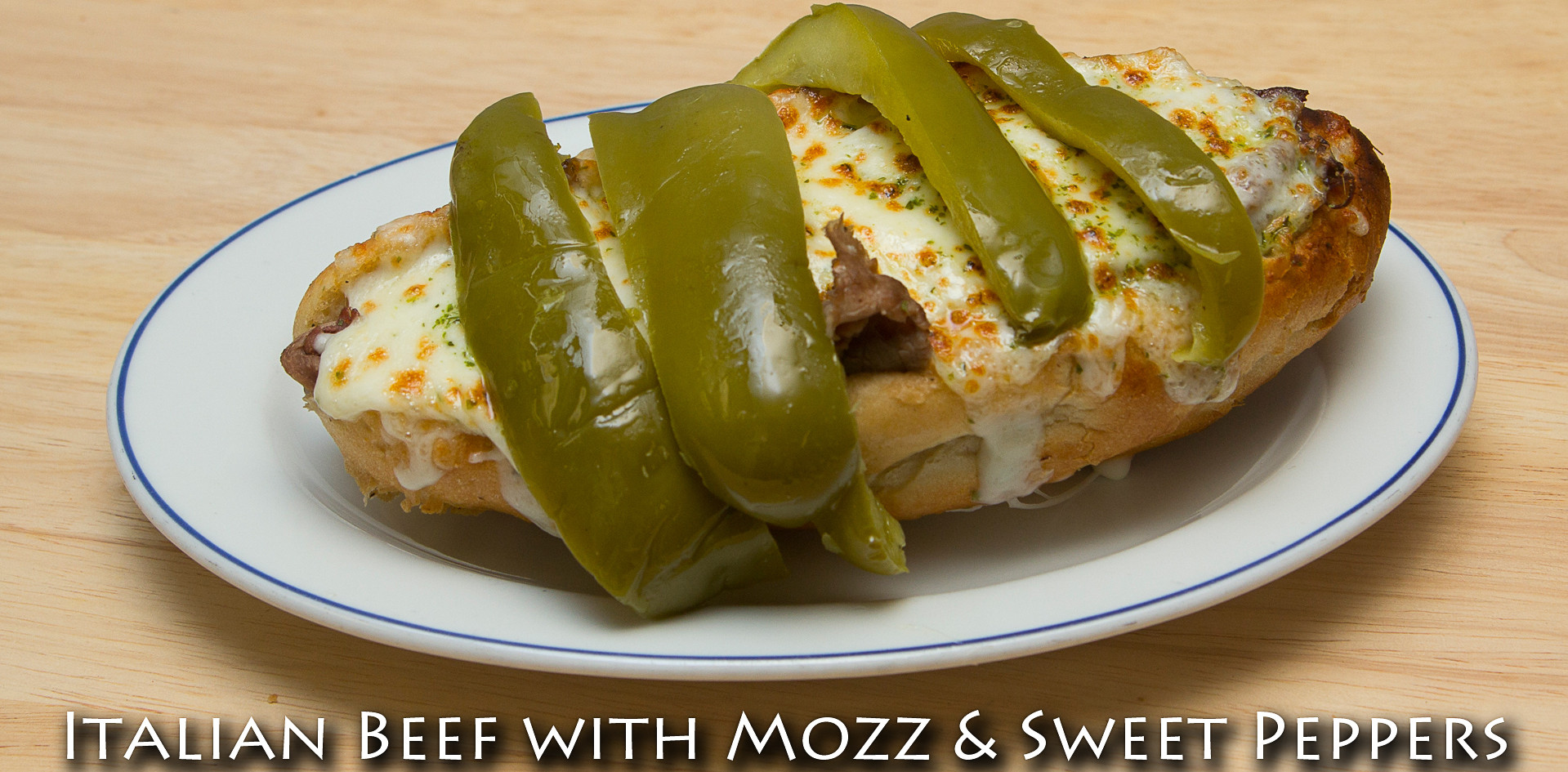 Italian Beef Sandwich with Mozzerella and Sweet Peppers