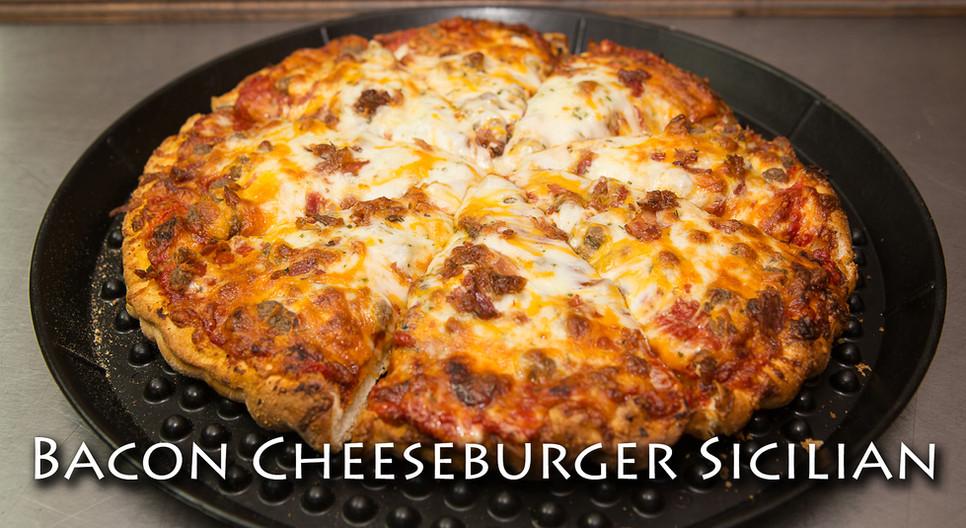 Sicilian Bacon Cheeseburger Pizza