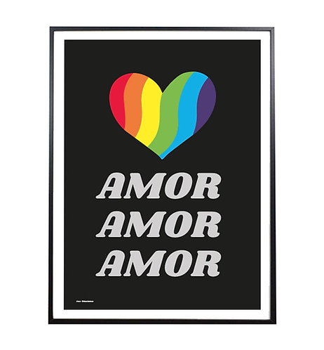 AMOR AMOR AMOR; rainbow print/poster