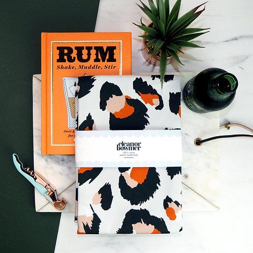 Grey Orange Leopard Print Tea Towel