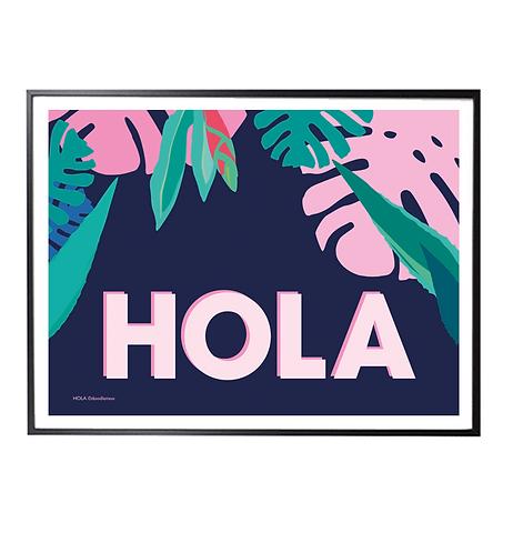 HOLA Tropical Art Print; blue