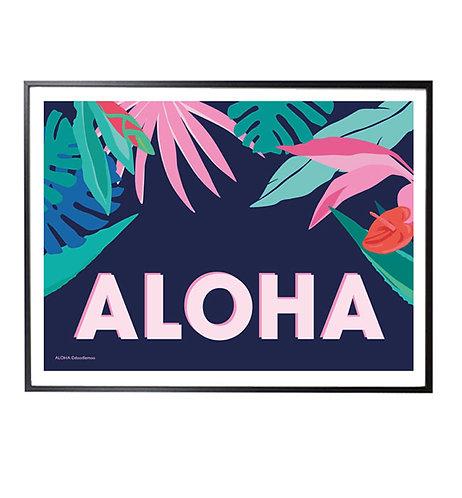 ALOHA Tropical Art Print; blue
