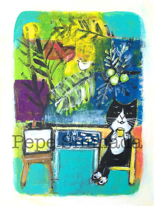 """Cat painter in island"" 「猫画家」"
