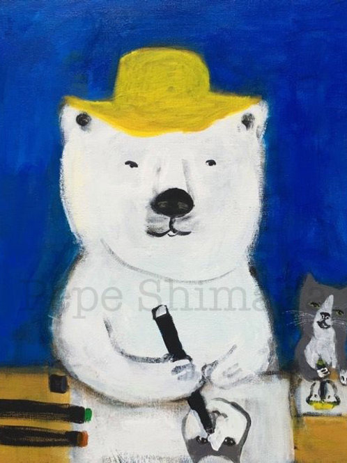 Polar bear and Cat drawing time