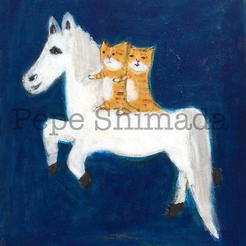 Rocking horse and cat's night's journey