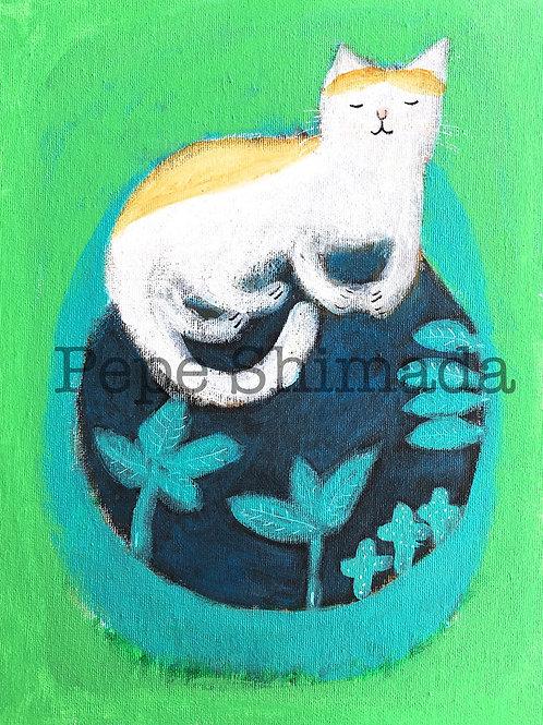 """Harmonious Cat with Nature "" 「ハーモニー猫」"