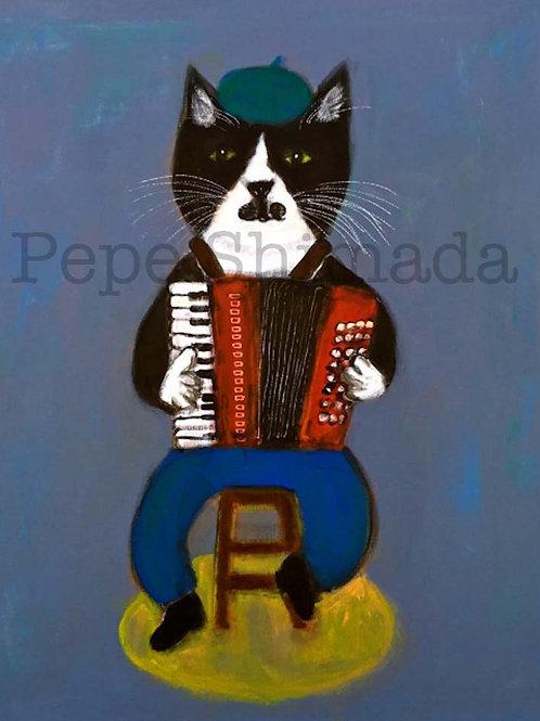 Red Accordionist Cat
