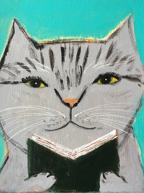 """""""Cat reads the book and thinks"""""""
