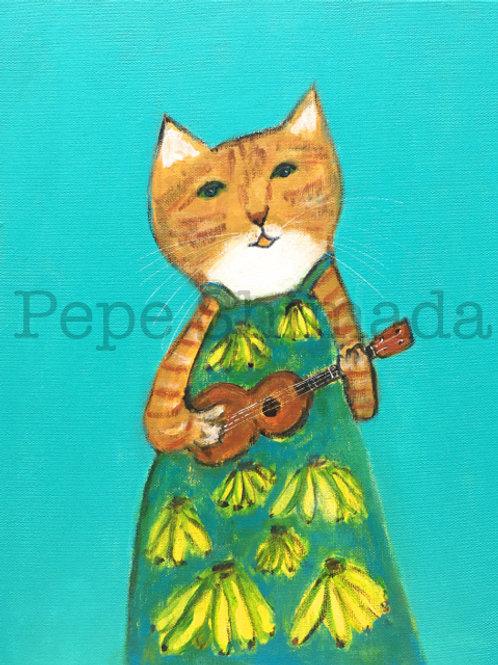 """""""Banana one-piece dress Ukulele Cat"""""""