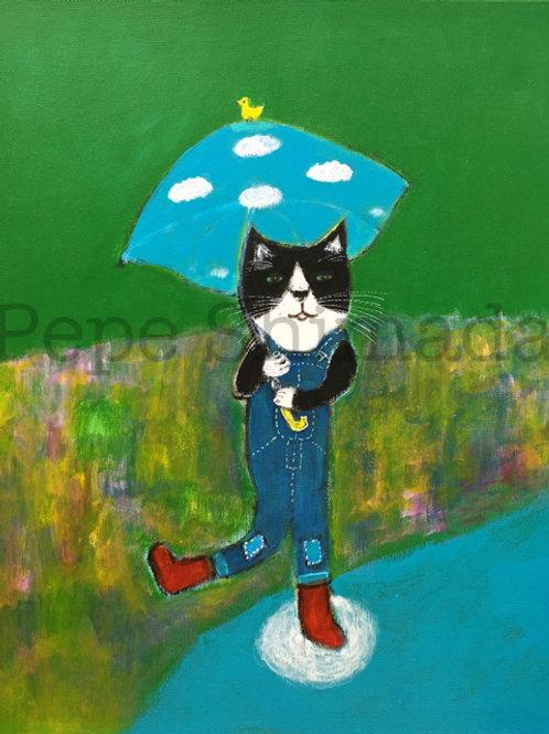"""""""Blue sky Umbrella Cat"""""""