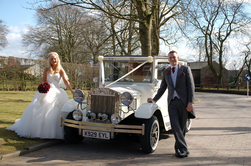 Bride & groom with vintage car Greater manchester wedding photography Ambience Images