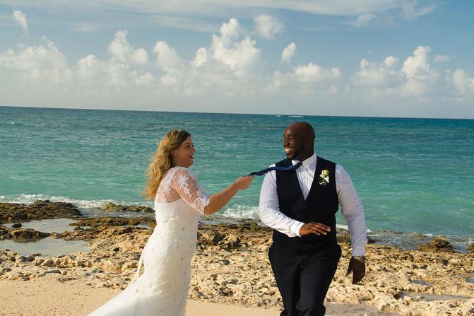 bride & groom on the beach location wedding photography