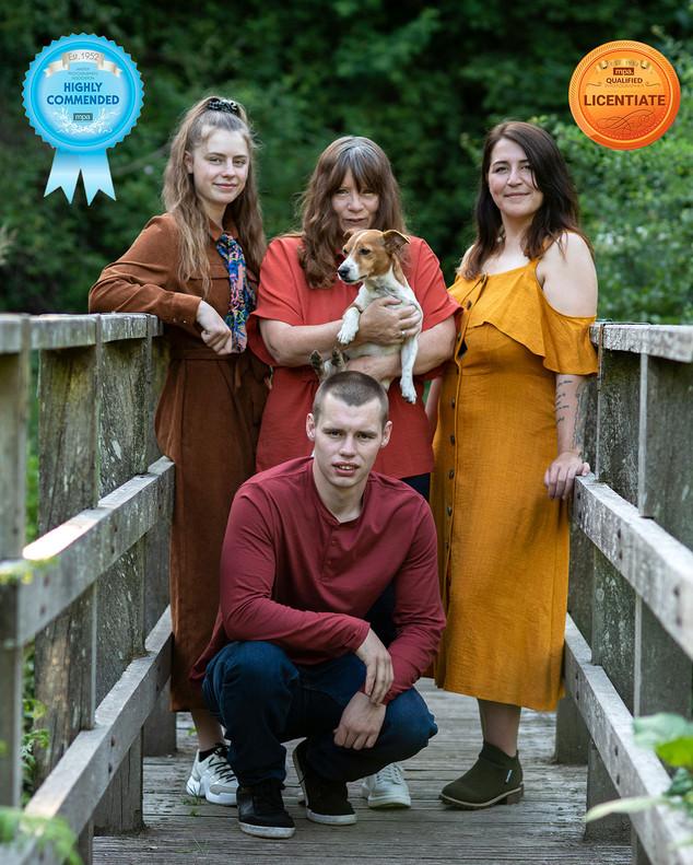 Family photo on bridge awar winning photographer Dave Pitts Lancashire