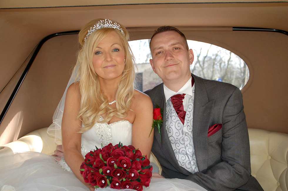 bride and groom sat in car on wedding day, lancashire wedding photography