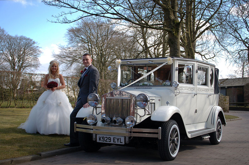 Bride & Groom by vintage car Ambience Images wedding photography Lancashire