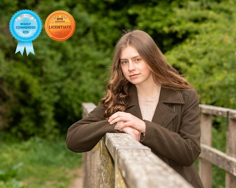 award winning photo of girl leaning on bridge Lancashire photography