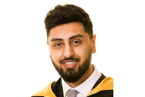 Lancashire Headshot Photography Ambience Images, photo of man in graduation robes on white backdrop
