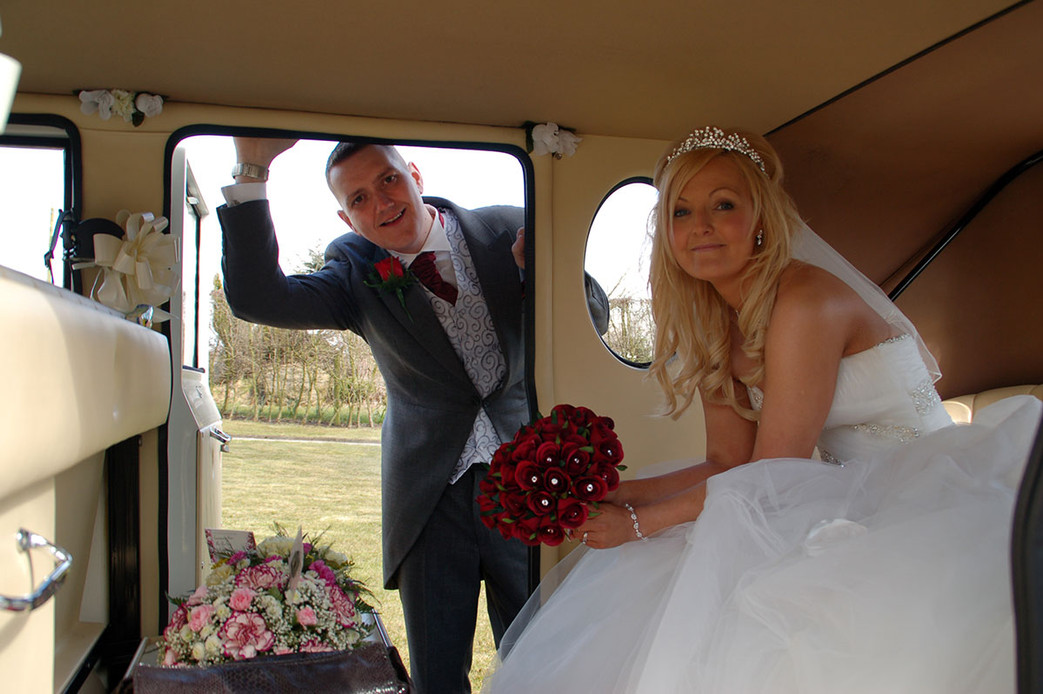 bride & groom in car wedding photographer Bury, lancashire