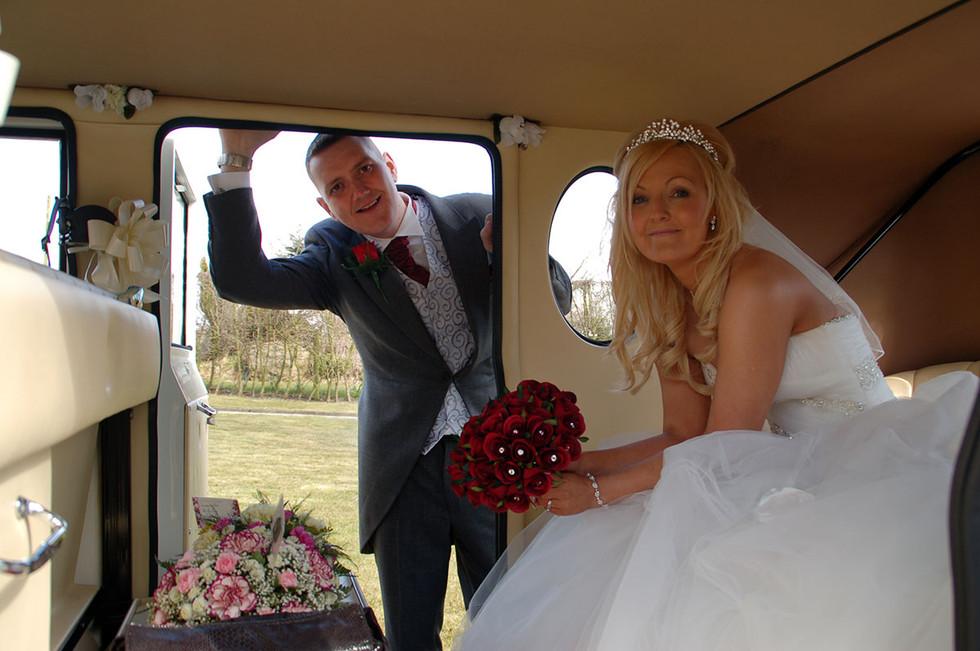 bride & groom in car wedding photographer Bury, lancashire