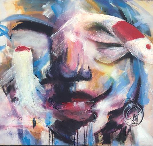Koi   Acryl auf Leinwand/Print/Digitale Bearbeitung   115 x 100 cm