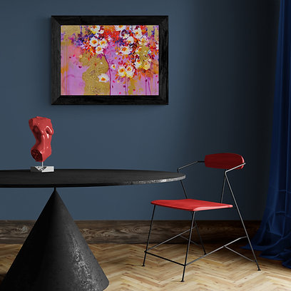 Luxurious Roses |  Acrylic Paint on Wooden Canvas | 70 cm x 50 cm