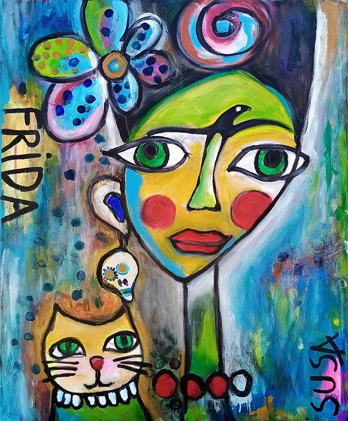 Frida with yellow cat | Acryl und Crepe paper auf Leinwan | 80 x 100 cm