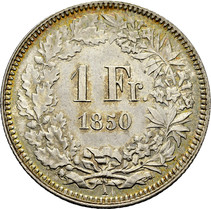Swiss Confederation. 1 Franc, 1850