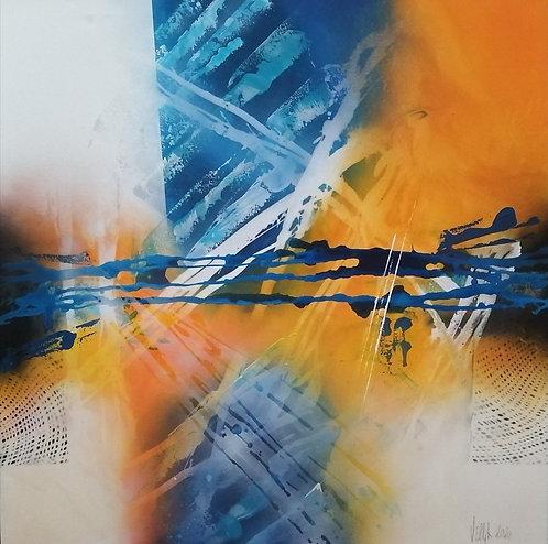 Blue shadow play | Acryl, mixed media on canvas | 100 x 100 cm
